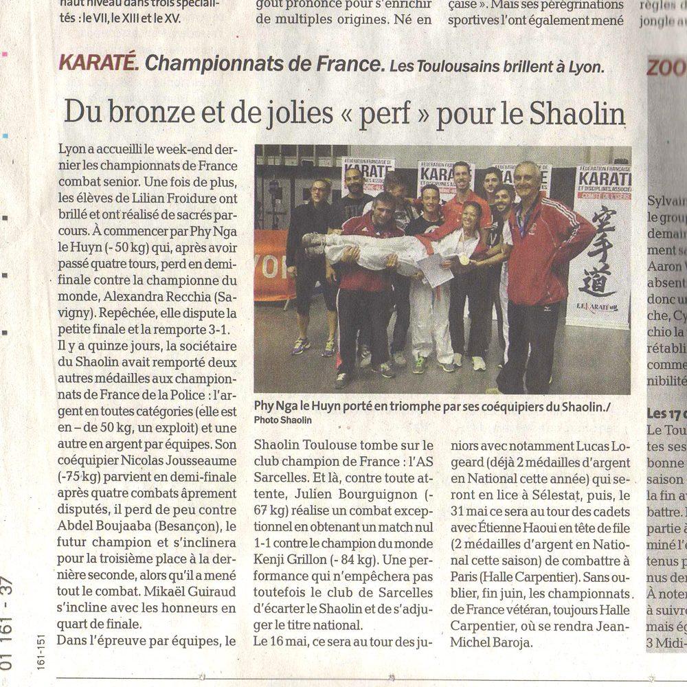 Résultats Karaté : championnats de France combat senior 2015