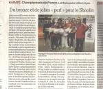 Championnat de France senior de karaté -médaille pour le Shaolin Toulouse