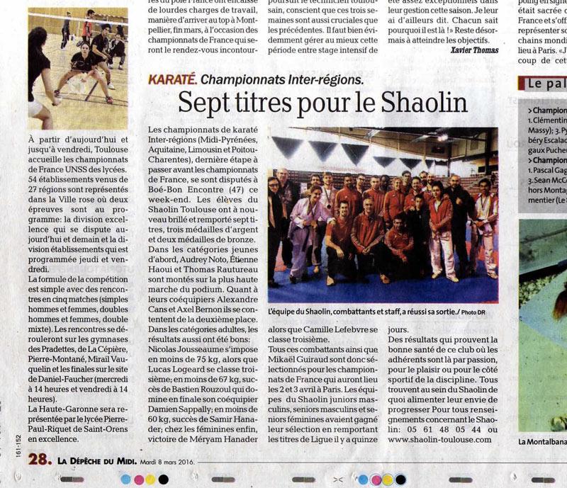 Inter-régions7 titres pour le Shaolin Toulouse – Karaté / championnat de Ligue karaté 21 février 2016