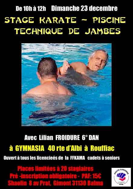 Stage karaté: Techniques de jambes en piscine organisé par le Shaolin karaté club Dimanche 23 décembre de 10H à 12h à Gymnasia route d'Albi à Rouffiac en face de Leclerc  avec Lilian Froidure 6ème Dan