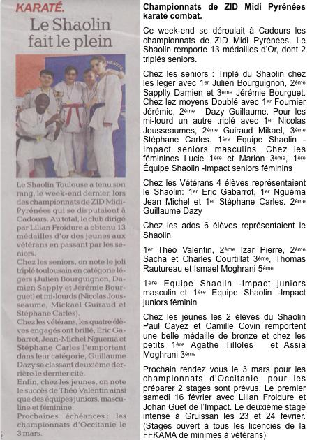 Championnats de ZID  (ligue Midi Pyrénées de karaté) Le Shaolin fait le plein