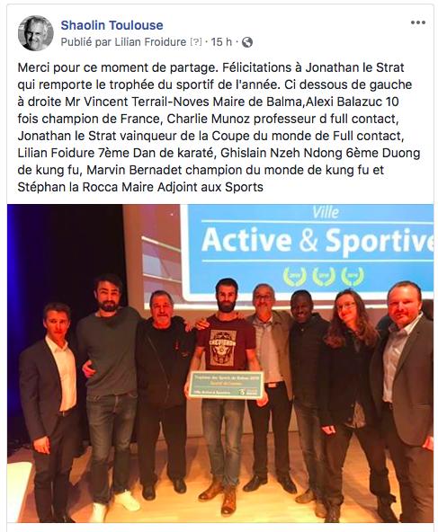 Trophée des sports de Balma: Le Shaolin à l'honneur grâce à ses champions. Jonathan Le Strat élu sportif de l'année