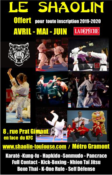 Le Shaolin vous offre Avril, Mai et Juin 2019 pour toute inscription 2019/2020.N'attendez pas septembre pour faire le premier pas …