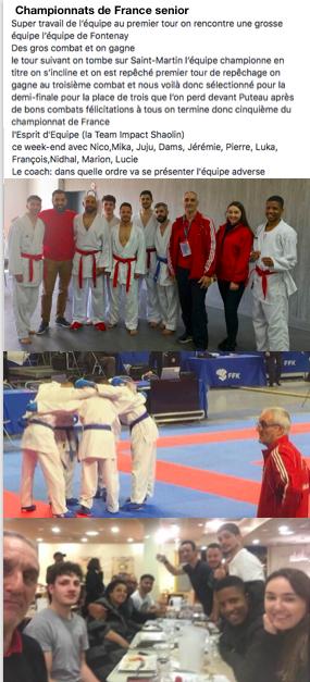 Super parcours de l'Impact Shaolin Karaté lors des championnats de France à Marseille