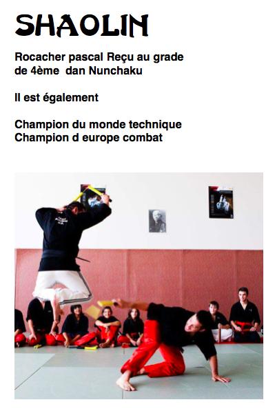 Pascal Rocacher notre professeur de Nunchaku reçu 4ème Dan