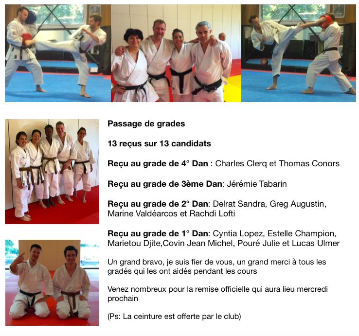 Karaté:  Passage de grade. Le Shaolin présentait 13 candidats et bravo 13 reçus