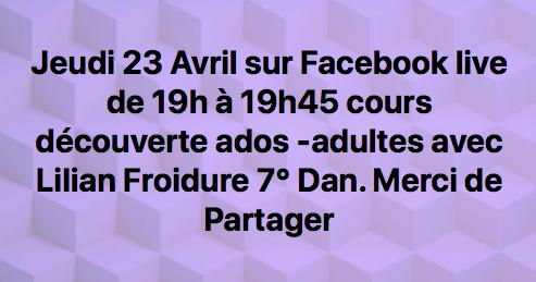 Karaté: Cours découverte Jeudi 23 avril sur Facebook Shaolin Toulouse en live