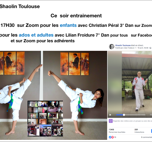 Entrainements en Live sur Facebook Shaolin Toulouse
